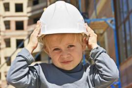 Child in hard hat
