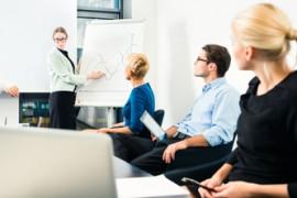 Business - team presentation on whiteboard
