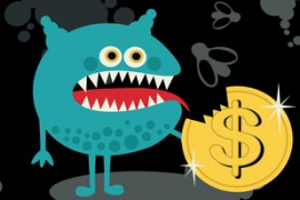 Cute monster with dollar coin.