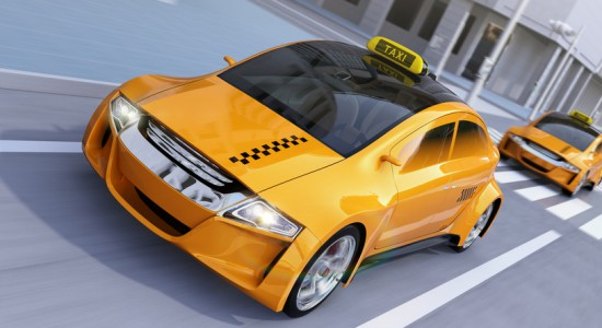 Yellow taxi passing the crossroad. 3D rendering image.